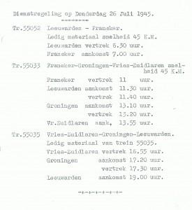 Dienstregeling treinen op donderdag 26-07-1945. (Bron: Gemeente Franekeradeel)