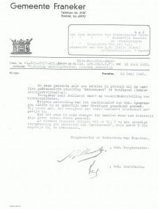 Brief betreffende vordering schoolgebouwen t.a.v. 'Dennenoord patiënten'. (Bron: Gemeente Franekeradeel)