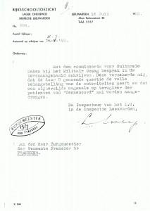 Brief van de inspecteur van het Lager Onderwijs aan den heer Burgemeester van Franeker. (Bron: Gemeente Franekeradeel)